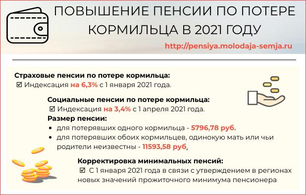 Пенсия по потере кормильца в 2021 году сумма