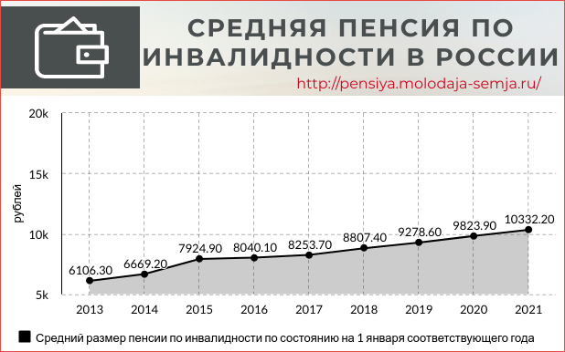Средняя пенсия по инвалидности в России статистика